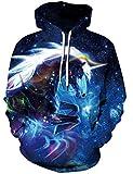 Loveternal 3D Hoodies Einhorn Druck Kapuzenpullover Langarm Tops Leichte Sweatshirts Mit Taschen S/M