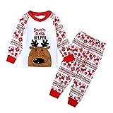 Kinder Schlafanzug Lang Little Hand Unisex Festlich Pyjama Baumwolle zu Weihnachten Nachtwäsche 98...