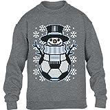 KIDS Weihnachten Fussball Schneemann Winter Pulli Kinder Pullover Sweatshirt XL 152/164 (12-14J)...