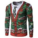 Vertvie Herren Langarmshirt Weihnachtspullover Sweatshirts Strickpullover Rundhals Pulli mit 3D...