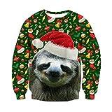 ChicolifeUnisex hässlich Weihnachten Faultier Dekoration Print Grafik Xmas Pullover Pullover...
