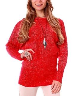 Damen Silber-Glanz Pullover mit Fledermausärmel