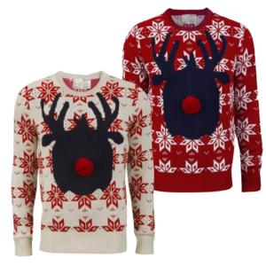 Herren Weihnachts Pullover Brave Soul Neu Rudolph Neuheit Rentier Nordic Top