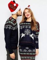 Oversize Christmas Rentier Weihnachtspullover Schneeflocke