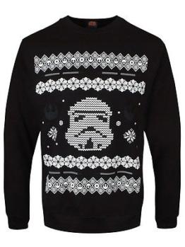 Star Wars Herren Weihnachts-Pullover Storm Trooper schwarz