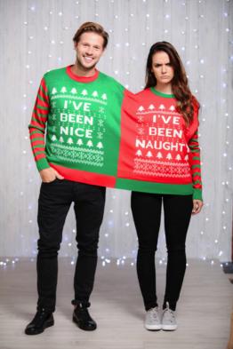 2 in 1 Weihnachts Pullover UNGEZOGEN Nett Paar Mr Mrs lustig Kostüm CS034