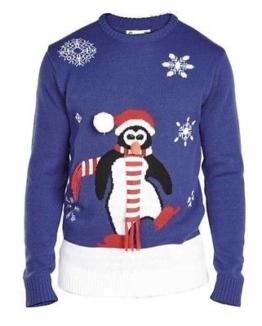 D555-Pinguin 3D Pinguin on Snow Rundhals Weihnachts Pullover Größen 2XL bis 5XL