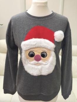 Damen Weihnachten Weihnachtsmann Sweatshirt Pulli Strickjacke UK14/EU42/US10