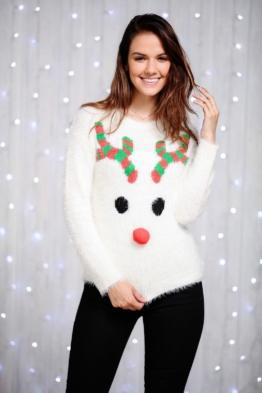 Damen Wimper Garn Rudolph 3D Weihnachts Pullover festlich Geschenk CS131