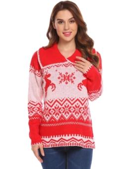 Meaneor Damen Weihnachtspullover Elegan Pulli Langarm Weihnachten Strickpullover