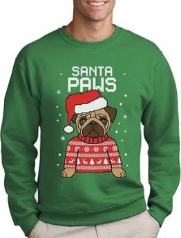 Santa Paws Pfoten Sweatshirt Geschenke Mops Weihnachtspullover