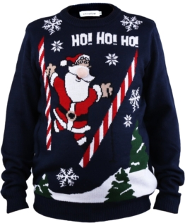 Shineflow Beleuchteter Weihnachtspullover Weihnachtsmann für Herren Jacquard Ne