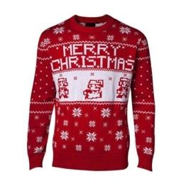 Unisex Nintendo Super Mario rot gestrickt Weihnachts Pullover
