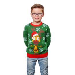Weihnachts Pullover Rentier Ugly Christmas Sweater Pulli Weihnachten Grün 98-152
