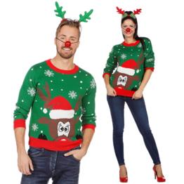 Weihnachtspullover Rentier Ugly Christmas Sweater Pulli Grün Weihnachten S-XXL