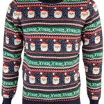 Pullover mit vielen Weihnachtsmännern und Schriftzug xmas