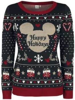 Micky Maus Strickpullover Happy Holidays